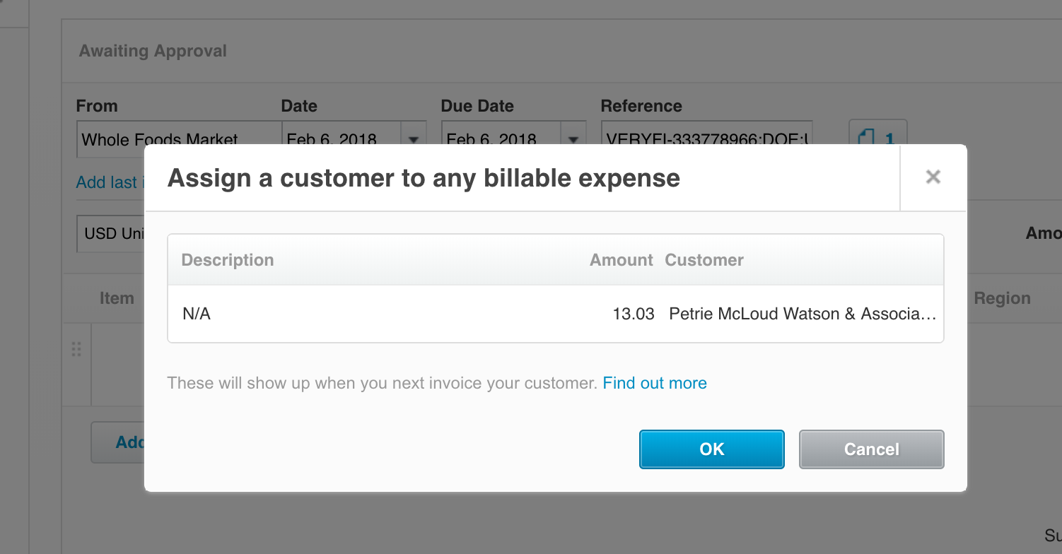 Billable Expense to a Customer - XERO