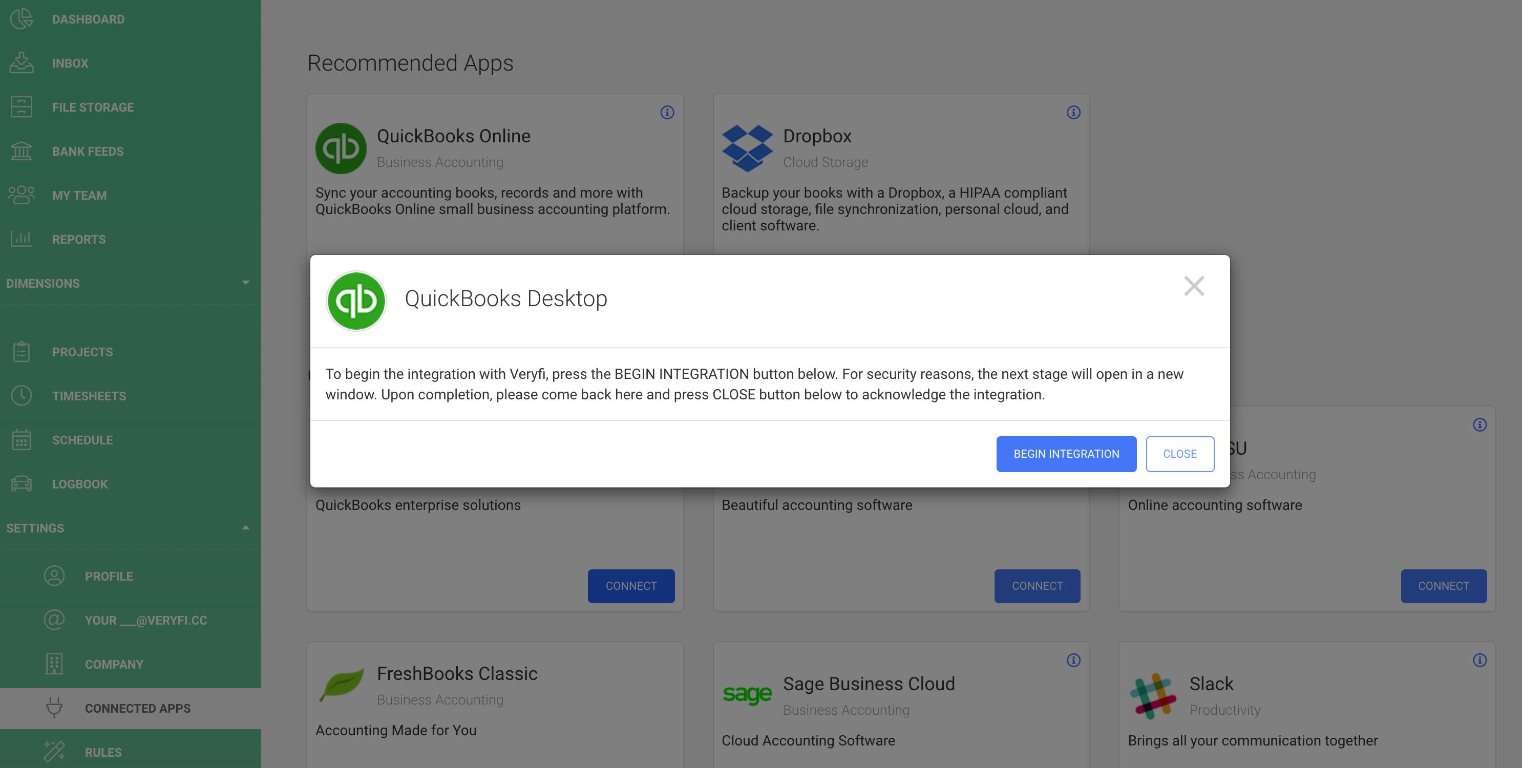 QuickBooks Desktop begin integration