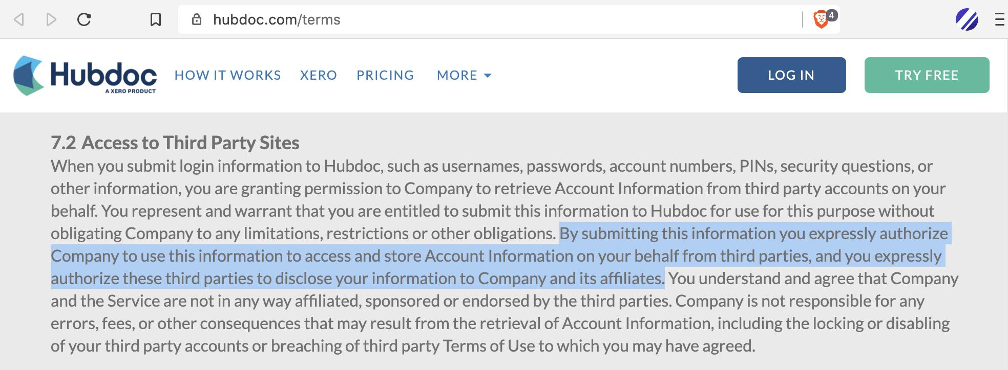 HubDoc harvests your logins