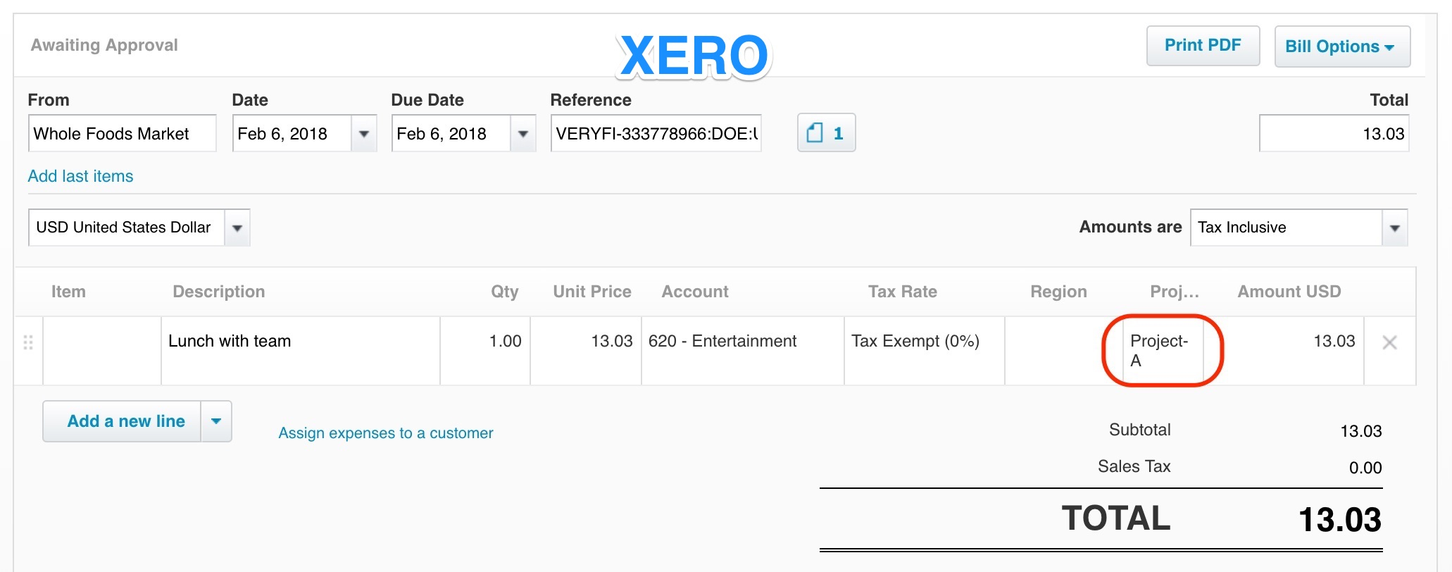 Tracking Category - Xero