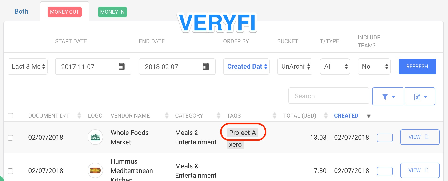 Tracking Categories - Veryfi
