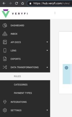 Veryfi API Portal Menu