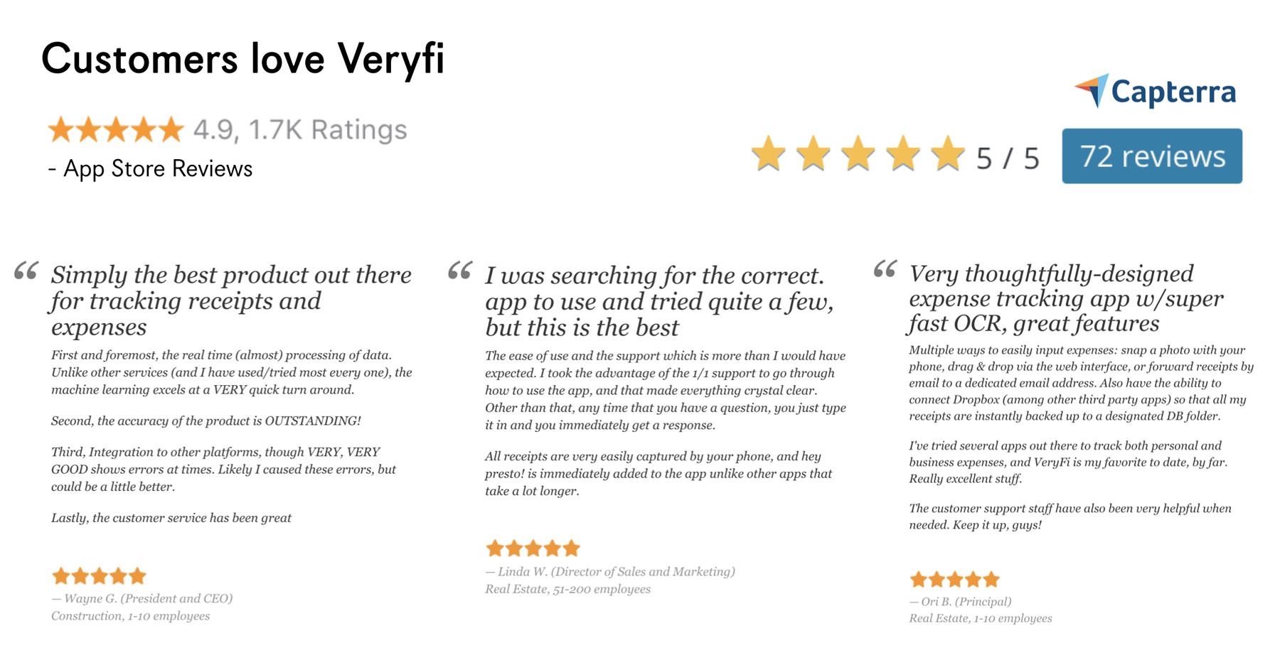 Customers Love Veryfi -- Read Veryfi's Capterra Reviews and App Store Reviews