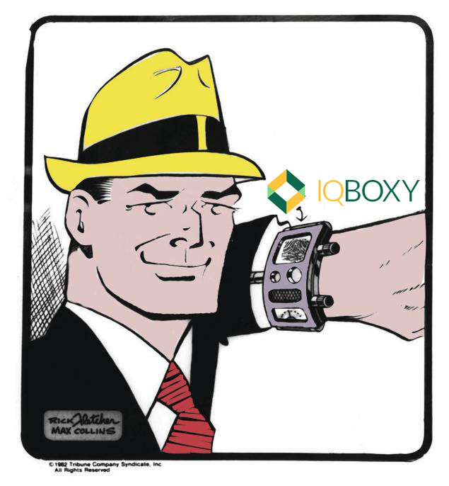 Dick Tracy showing IQBoxy on Watch