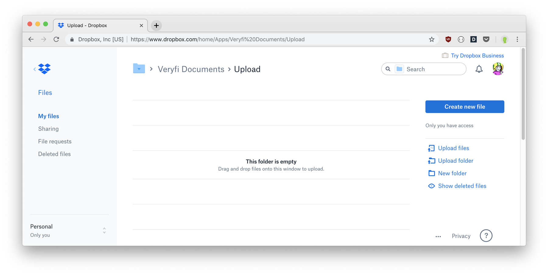 Dropbox Veryfi Slurp Integration Uploads Folder