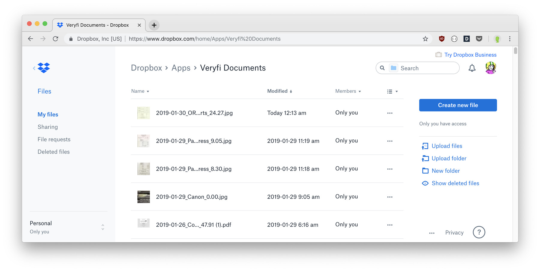 Dropbox Veryfi Slurp Integration showing Veryfi Documents folder where Receipts, Bills & Invoices are backed up to