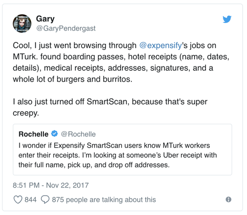 Expensify leaked personal data to mechanical turks, here's what they saw