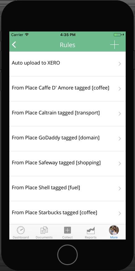 Veryfi IOS app showing Rules list