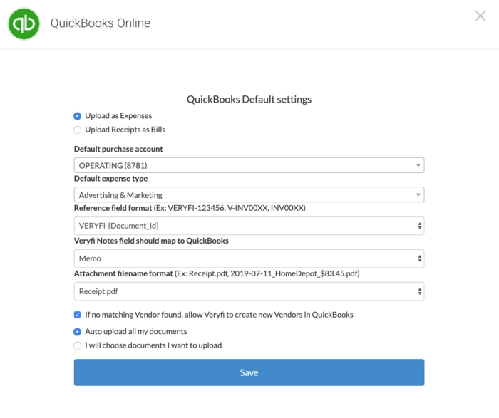 QuickBooks Online - Seamless Integration with Veryfi