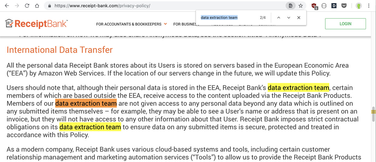 Receipt Bank uses an offshore data extraction team - Ouch! Watch out!